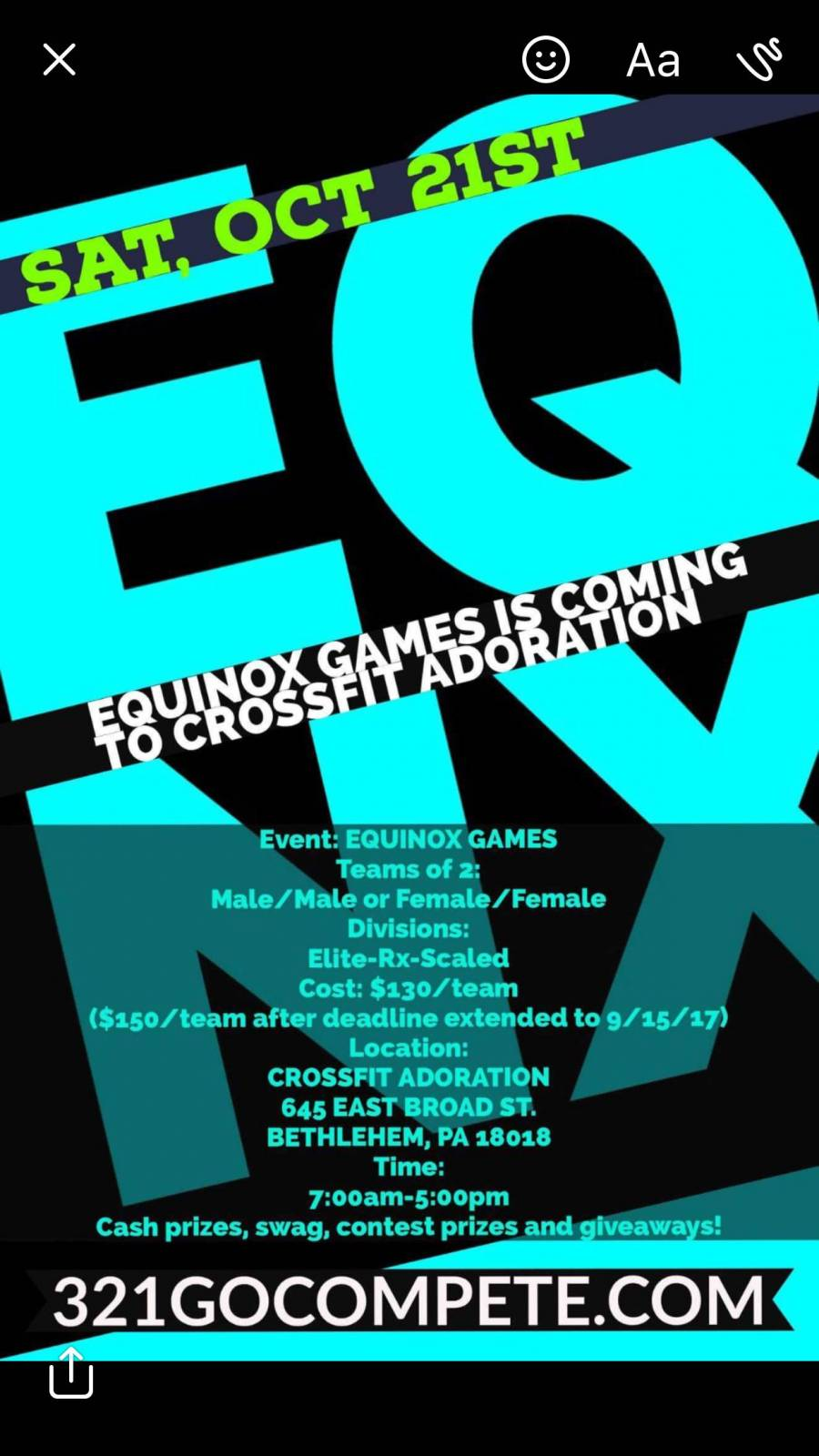 Equinox Games is coming to CrossFit Adoration!!